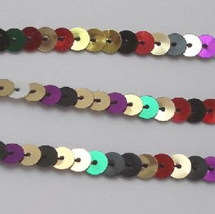 6mm Strung Sequins. Multi-coloured X 5 Metres.